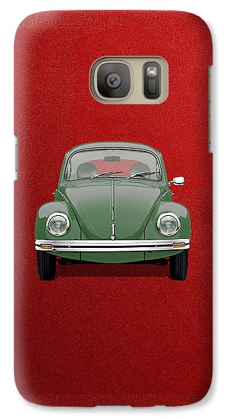 Galaxy Case featuring the digital art Volkswagen Type 1 - Green Volkswagen Beetle On Red Canvas by Serge Averbukh