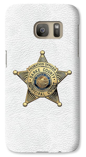 Galaxy Case featuring the digital art Darke County Municipal Court - Probation Officer Badge Over White Leather by Serge Averbukh