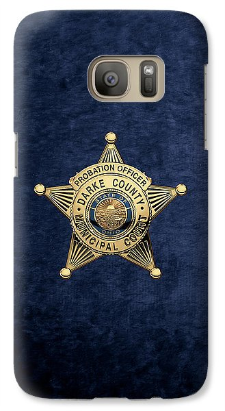 Galaxy Case featuring the digital art Darke County Municipal Court - Probation Officer Badge Over Blue Velvet by Serge Averbukh