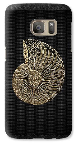 Galaxy Case featuring the digital art Fossil Record - Golden Ammonite Fossil On Square Black Canvas #1 by Serge Averbukh