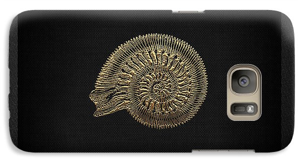Galaxy Case featuring the digital art Fossil Record - Golden Ammonite Fossil On Square Black Canvas #2 by Serge Averbukh