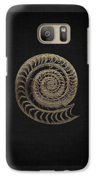 Galaxy Case featuring the digital art Fossil Record - Golden Ammonite Fossil On Square Black Canvas # by Serge Averbukh