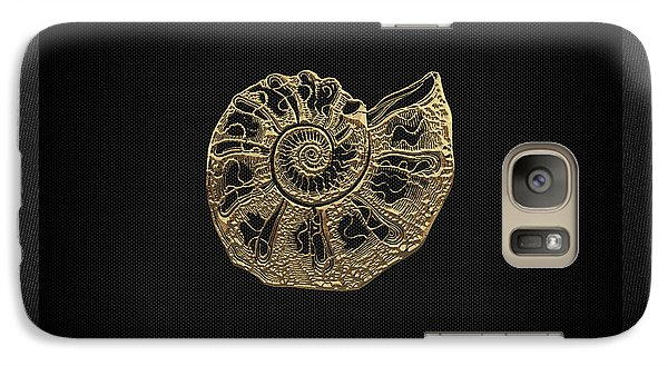 Galaxy Case featuring the digital art Fossil Record - Golden Ammonite Fossil On Square Black Canvas #4 by Serge Averbukh