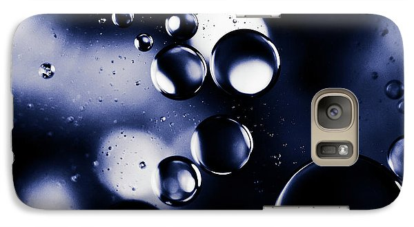 Galaxy Case featuring the photograph deep purple blue tones Macro Water Droplets by Sharon Mau