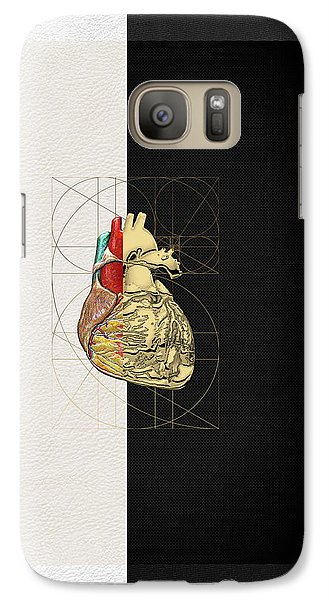 Galaxy Case featuring the digital art Dualities - Half-gold Human Heart On Black And White Canvas by Serge Averbukh