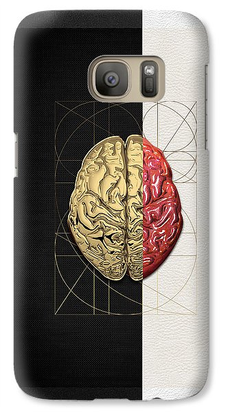 Galaxy Case featuring the digital art Dualities - Half-gold Human Brain On Black And White Canvas by Serge Averbukh