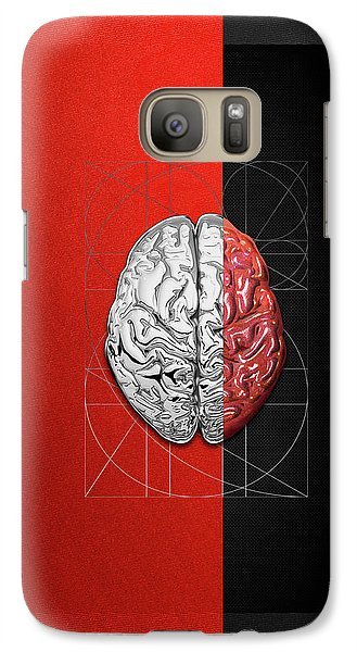 Galaxy Case featuring the digital art Dualities - Half-silver Human Brain On Red And Black Canvas by Serge Averbukh