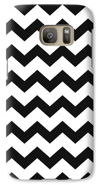 Galaxy S7 Case featuring the mixed media Black White Geometric Pattern by Christina Rollo