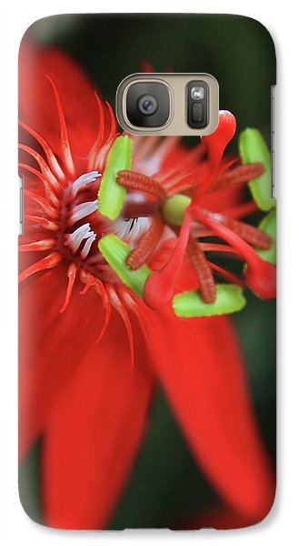 Galaxy Case featuring the photograph Passiflora Vitifolia Scarlet Red Passion Flower by Sharon Mau