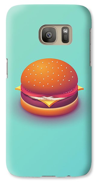 Galaxy S7 Case - Burger Isometric - Plain Mint by Ivan Krpan