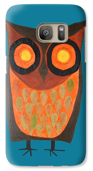 Give A Hoot Orange Owl Galaxy S7 Case