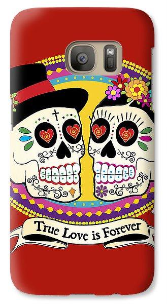 Folk Art Galaxy S7 Case - Los Novios Sugar Skulls by Tammy Wetzel
