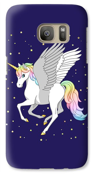 Pretty Rainbow Unicorn Flying Horse Galaxy S7 Case