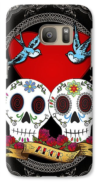 Galaxy Case featuring the drawing Love Skulls II by Tammy Wetzel