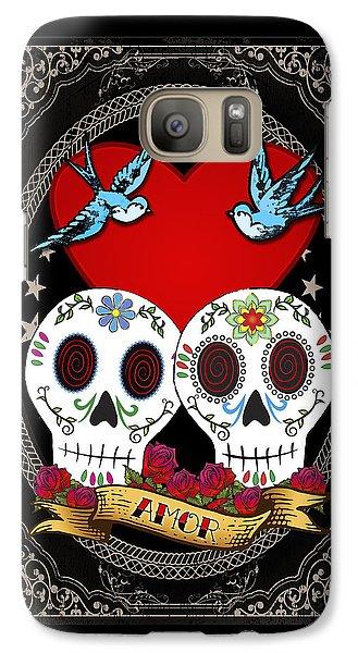 Folk Art Galaxy S7 Case - Love Skulls II by Tammy Wetzel