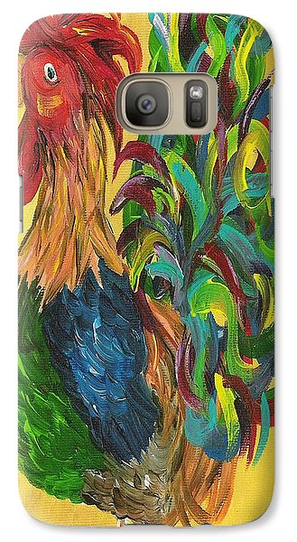 Galaxy Case featuring the painting Plucky Rooster  by Eloise Schneider
