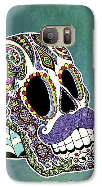 Galaxy Case featuring the drawing Mustache Sugar Skull by Tammy Wetzel