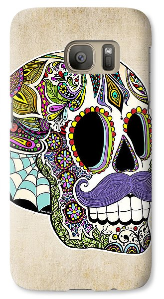 Galaxy Case featuring the drawing Mustache Sugar Skull Vintage Style by Tammy Wetzel