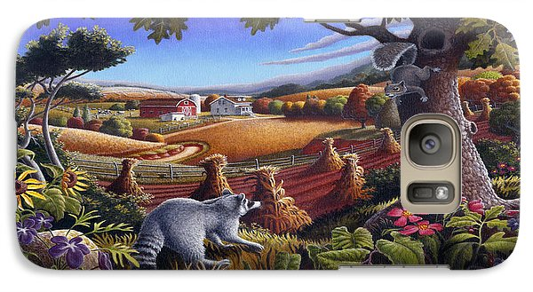Rural Country Farm Life Landscape Folk Art Raccoon Squirrel Rustic Americana Scene  Galaxy S7 Case