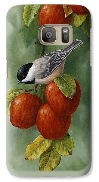 Bird Painting - Apple Harvest Chickadees Galaxy S7 Case