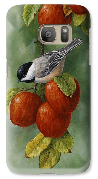 Bird Painting - Apple Harvest Chickadees Galaxy S7 Case