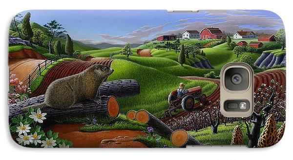Groundhog Galaxy S7 Case - Farm Folk Art - Groundhog Spring Appalachia Landscape - Rural Country Americana - Woodchuck by Walt Curlee