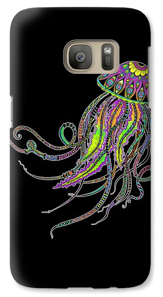 Galaxy Case featuring the drawing Electric Jellyfish On Black by Tammy Wetzel