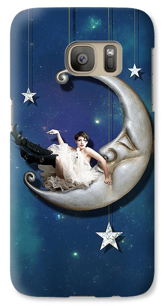 Galaxy Case featuring the digital art Paper Moon by Linda Lees