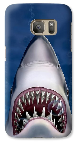 Jaws Great White Shark Art Galaxy Case by Walt Curlee