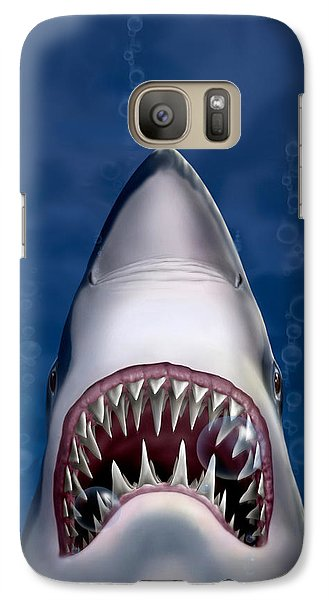 Jaws Great White Shark Art Galaxy S7 Case by Walt Curlee