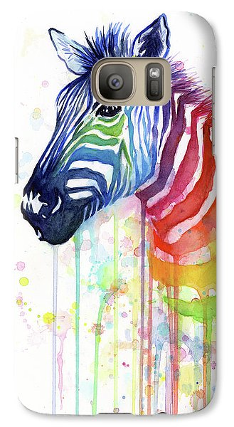 Galaxy S7 Case - Rainbow Zebra - Ode To Fruit Stripes by Olga Shvartsur