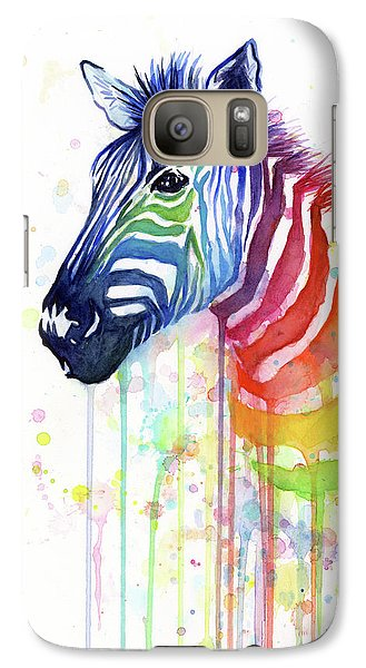 Zebra Galaxy S7 Case - Rainbow Zebra - Ode To Fruit Stripes by Olga Shvartsur
