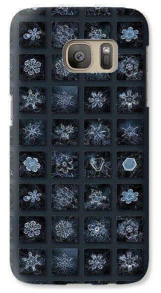 Galaxy Case featuring the photograph Snowflake Collage - Season 2013 Dark Crystals by Alexey Kljatov