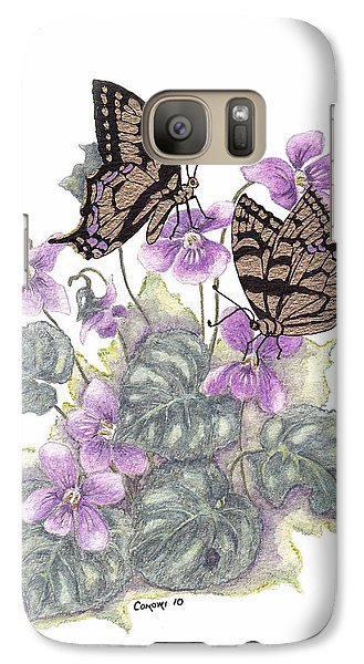 Galaxy Case featuring the painting As Close To The Flowers by Stanza Widen