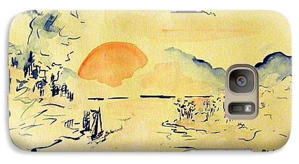 Galaxy Case featuring the painting Asian Sunrise by Andrew Gillette
