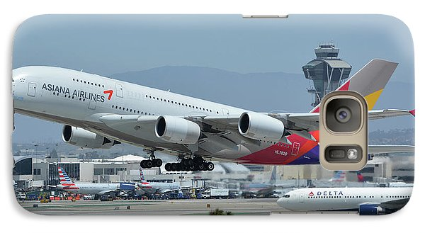 Galaxy Case featuring the photograph Asiana Airbus A380-800 Hl7626 Los Angeles International Airport May 3 2016 by Brian Lockett