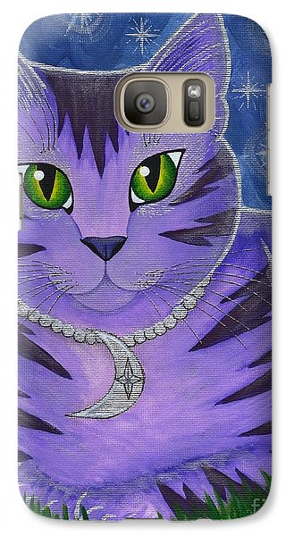 Galaxy Case featuring the painting Astra Celestial Moon Cat by Carrie Hawks