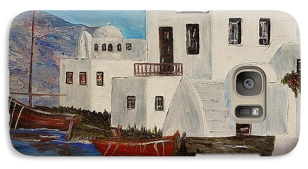 Galaxy Case featuring the painting At Home In Greece by Marilyn  McNish