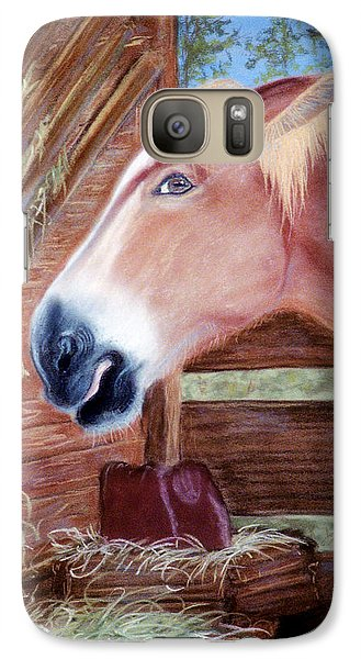 Galaxy Case featuring the pastel At The Trough by Jan Amiss