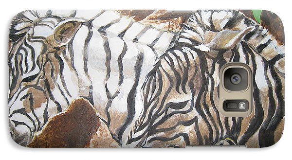 Galaxy Case featuring the painting At The Zoo by Julie Todd-Cundiff