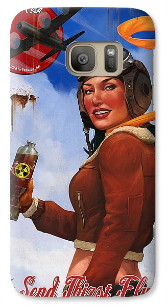 Galaxy Case featuring the digital art Atom Bomb Cola Send Thirst Flying by Steve Goad