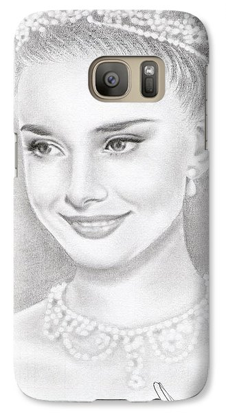 Galaxy Case featuring the drawing Audrey Hepburn by Eliza Lo
