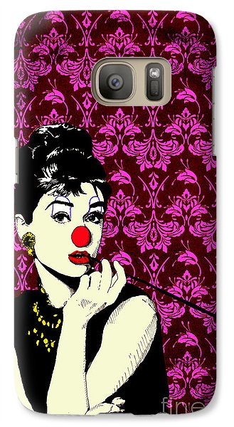 Galaxy Case featuring the drawing Audrey On Purple by Jason Tricktop Matthews