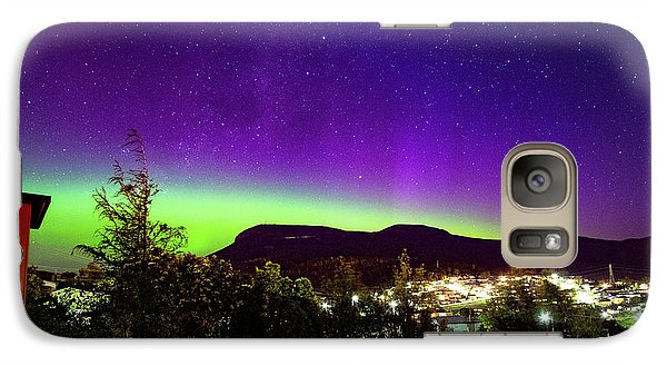Galaxy Case featuring the photograph Aurora Over Mt Wellington, Hobart by Odille Esmonde-Morgan