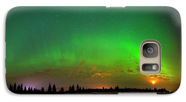Galaxy Case featuring the photograph Aurora Over Pond Panorama by Dan Jurak