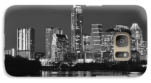 Austin Skyline At Night Black And White Bw Panorama Texas Galaxy S7 Case by Jon Holiday