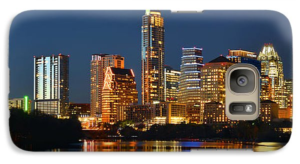 Austin Galaxy S7 Case - Austin Skyline At Night Color Panorama Texas by Jon Holiday