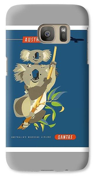 Koala Galaxy S7 Case - Australia Koala Bears Qantas Empire Airways Vintage Travel Poster by Retro Graphics