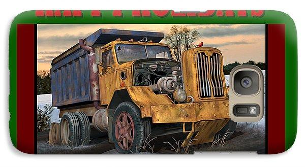 Galaxy Case featuring the digital art Autocar Happy Holidays by Stuart Swartz