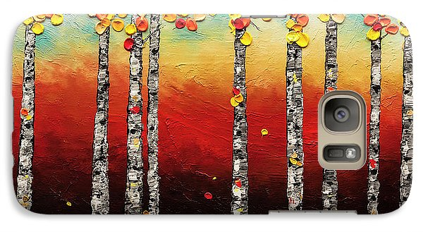 Galaxy Case featuring the painting Autumn Birch Trees by Carmen Guedez